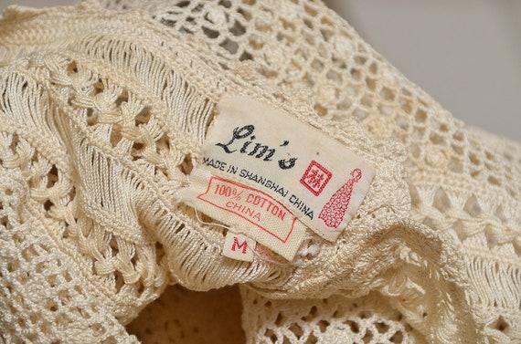 Antique Crochet Blouse Ivory Cotton Button Back B… - image 6
