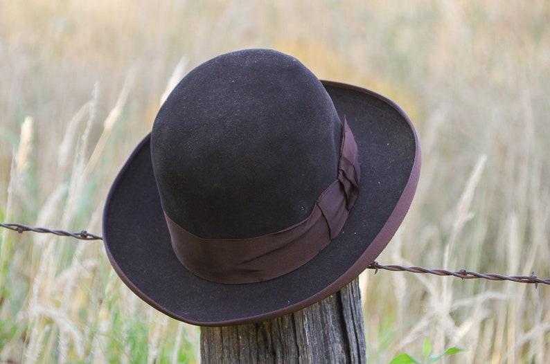 ea8244d12ee 1920s Dobbs Derby Hat Black Felt Mens Bowler Dress Hat size 7