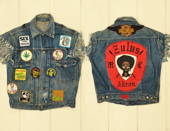 1960s Motorcycle Vest Zulus Black MC Club Levis Ty