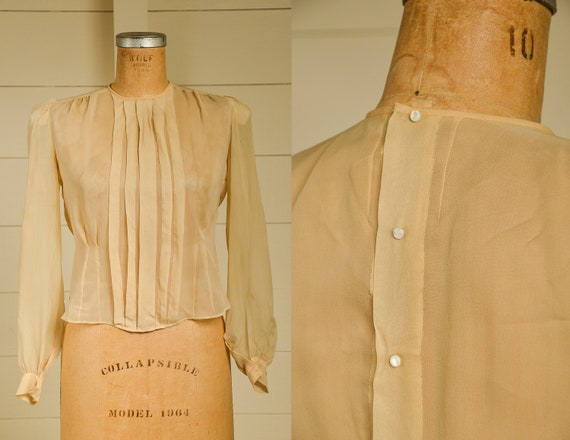 Antique Silk Blouse Sheer Ivory Button Back Pleate