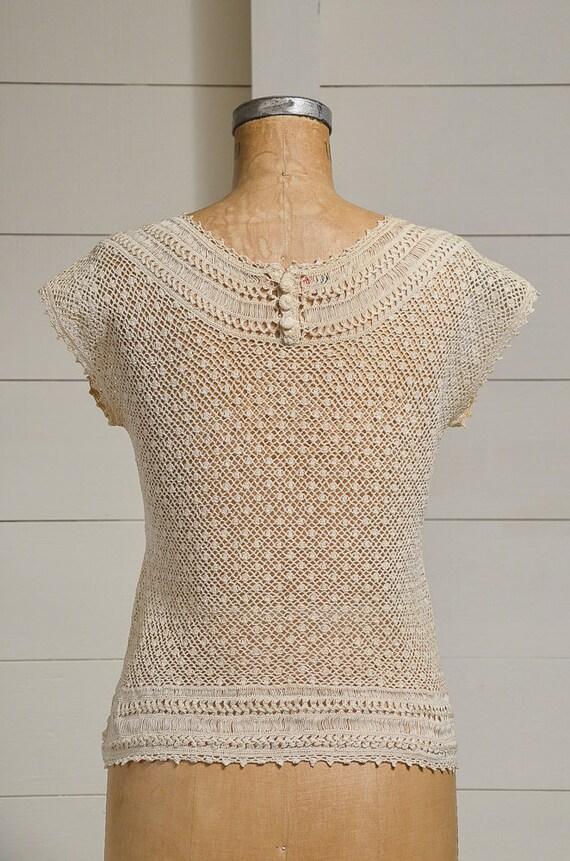 Antique Crochet Blouse Ivory Cotton Button Back B… - image 4