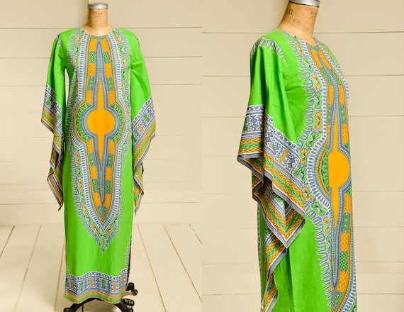 70s Dashiki Caftan Dress Bohemian Angel Sleeve Gre