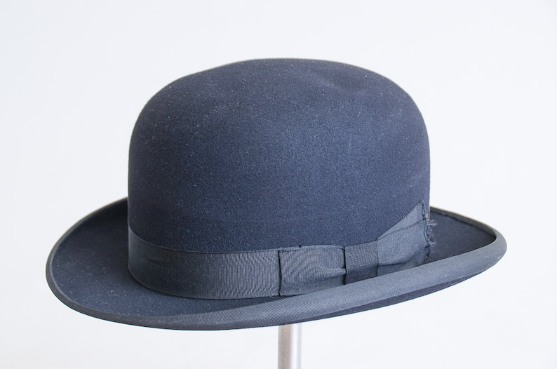 8a5c37e78e695 ... 1920s Stetson Derby Hat Black Wool Felt Mens Dress Hat size 7  9918985a40d1 ...