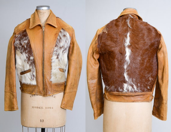 1940s Cowpunch Pony Hair Motorcycle Leather Grizzl