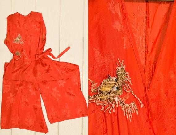 1930s Beach Pajamas Japan Souvenir Red Silk Embroi