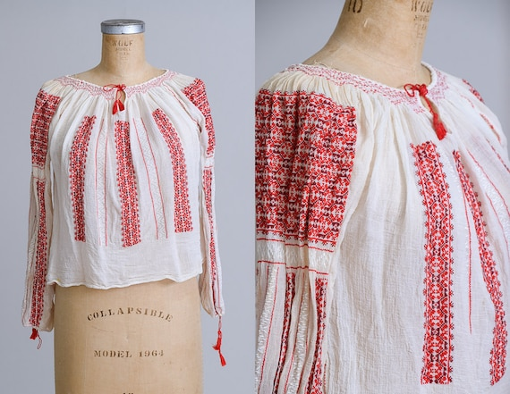 1920s Silk Romanian Hand Embroidered Folk Peasant