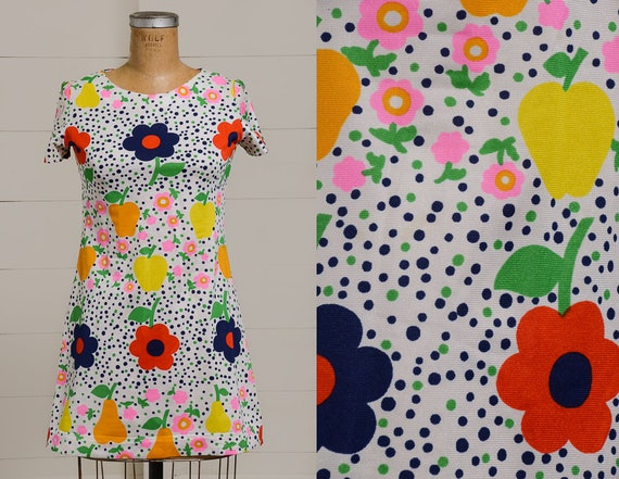 60s Dolly Dress Bright Floral & Polka Dot Psychede