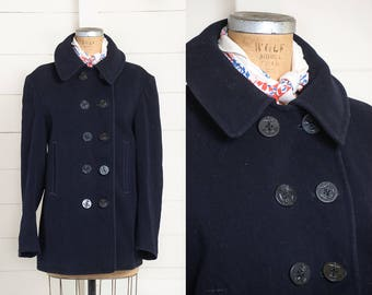 WWll Pea Coat Double Breasted Stenciled Navy Blue Wool Corduroy Pocket Jacket