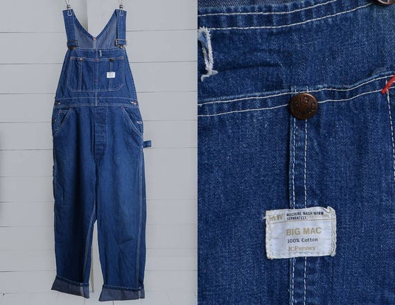 70s Overalls BIG MAC Dark Denim Workwear Overalls