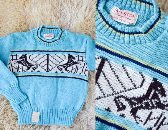 1950s Deadstock Kids Sweater Blue Cherub Horse Kni