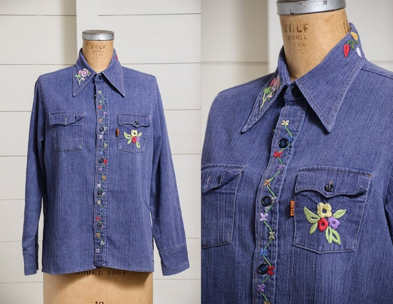 70s Levis Orange Tag Embroidered Denim Button Down