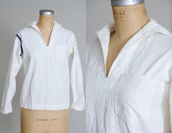 1940s WWII White Cotton Bibbed Nautical Sailor Shi