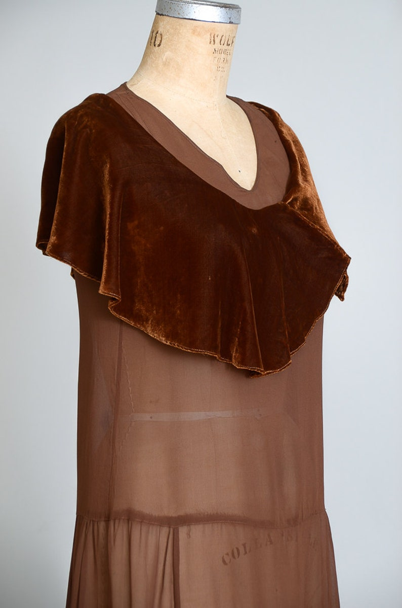 1920s Chocolate Velvet and Silk Flapper Dress Sheer Nude Illusion Drop Waist Harlequin Dress