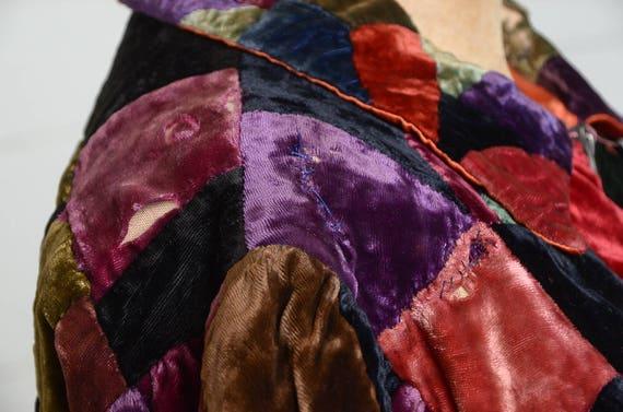 1920s Velvet Patchwork Quilt Coat Full Length Dus… - image 8
