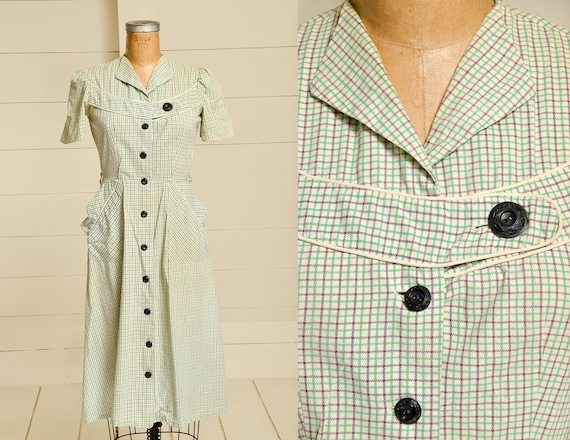 1930s Cotton Day Dress Plaid Button Down House Dre