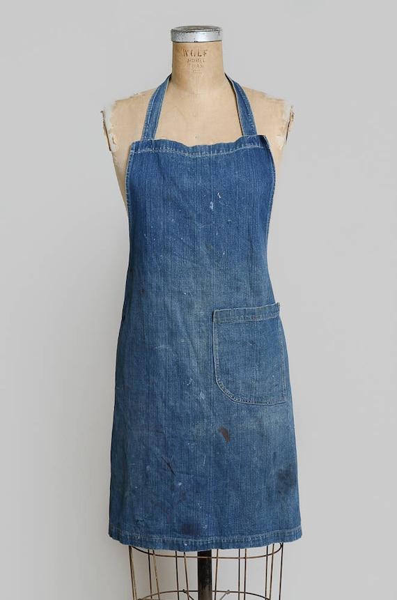 1940s Indigo Selvedge Denim Shop Apron Workwear G… - image 2