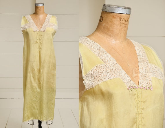 1920s Silk & Lace Dress Slip Pale Yellow Silk Full