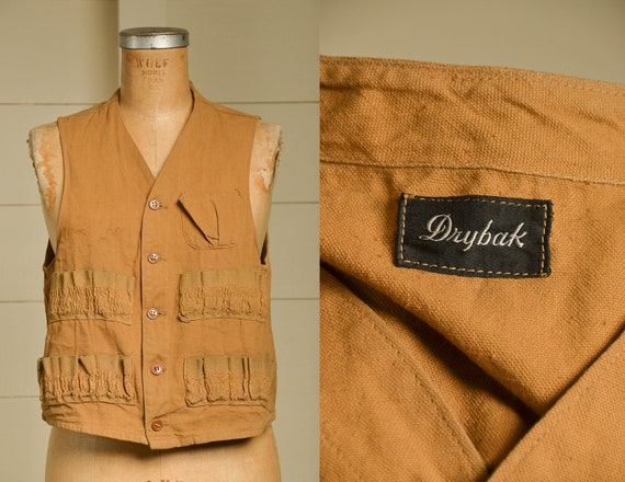1940s Hunting Vest Drybak Cotton Canvas American F