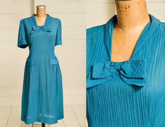 1940s Emerald Blue Semi Sheer Day Dress
