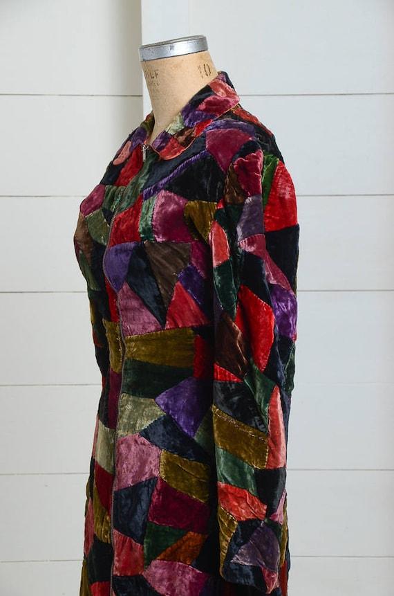 1920s Velvet Patchwork Quilt Coat Full Length Dus… - image 5