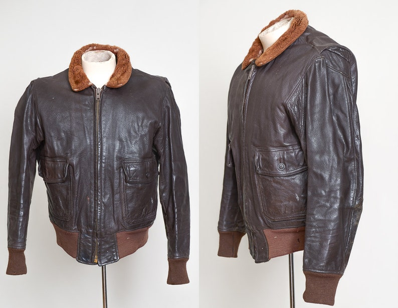 a244be99f 1968 G-1 Flight Jacket Brown Leather Bomber Jacket