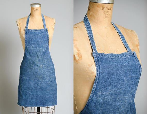 1940s Indigo Selvedge Denim Shop Apron Workwear Ga