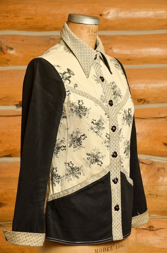 1960s Roncelli Denim & Leather Floral Hippie Jack… - image 3