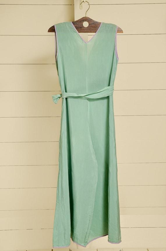 1930s Beach Pajamas Seafoam Green Silk Lounge Jum… - image 9