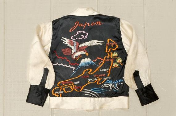 1950s Japan Tour Souvenir Jacket Satin Bomber Hawk