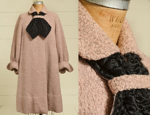 1950s Persian Lamb Swing Coat Dusty Pink & Black C