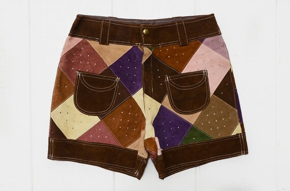 60s Patchwork Leather Mod Shorts High Waisted Glam