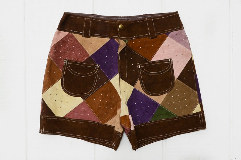 60s Patchwork Leather Mod Shorts High Waisted Glam Hippie Shorts