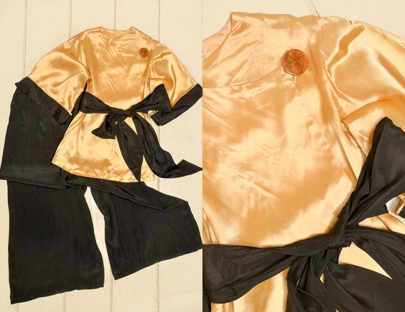 1930s Silk Jumpsuit Honey & Black Deco Lounge Suit