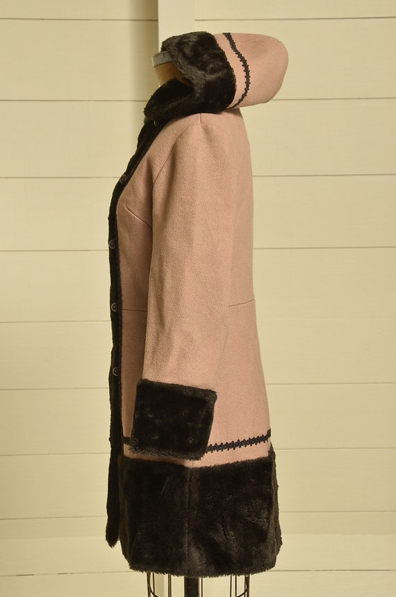 70s Princess Coat Faux Fur with Wool Button Down … - image 3