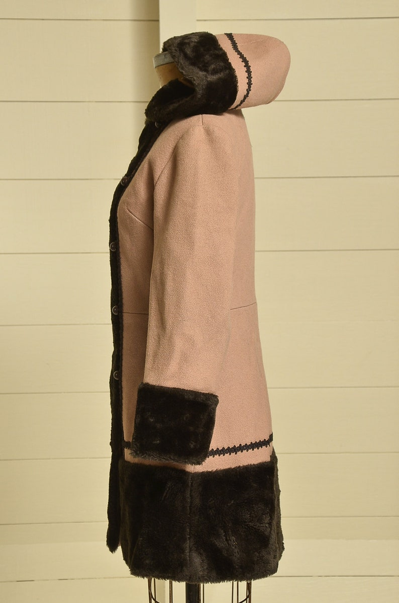 70s Princess Coat Faux Fur with Wool Button Down Hooded Pea Coat