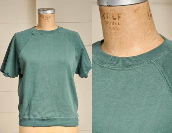 1960s Sweatshirt Green Cotton Short Sleeve Athleti