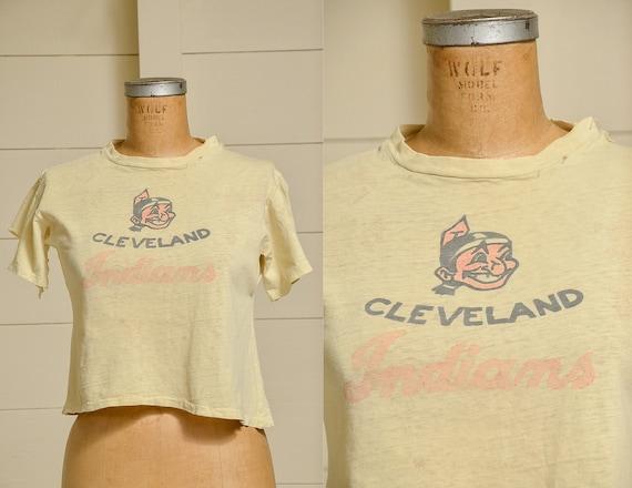 1950s Cleveland Indians Distressed Cotton Basebal… - image 1