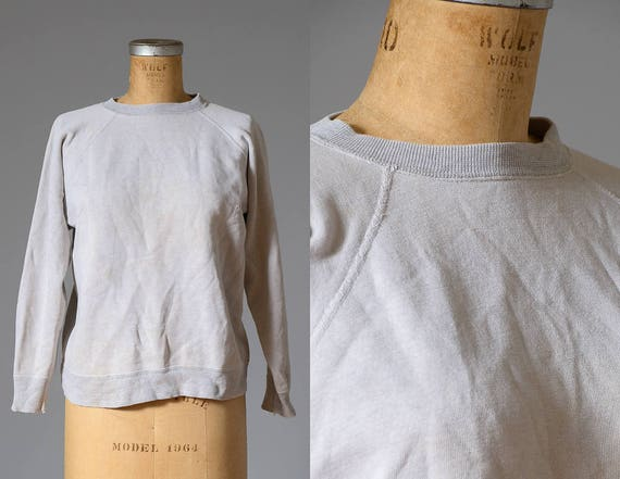 1950s Sweatshirt Light Grey Crew Neck Cotton Workw