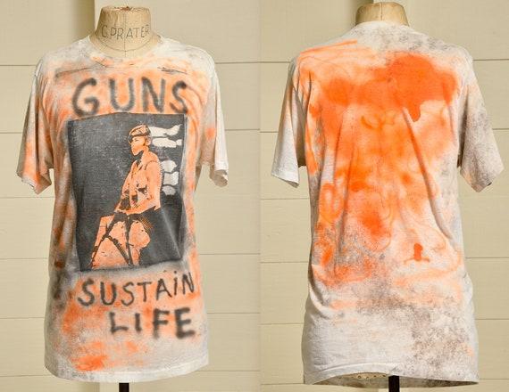 1980s Punk Tee Graffiti Style Soldier All Over Pri