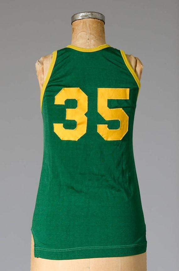 années 1960 basket-ball jaune Jersey vert et jaune basket-ball #35 Kimmel trappe Athletic Suply Tank Top b6b2e8