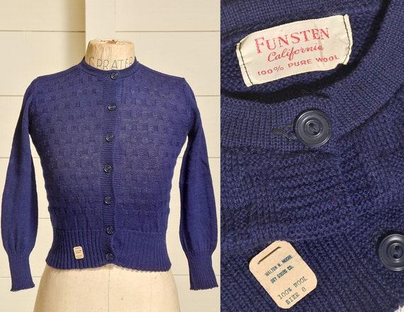 1950s Deadstock Cardigan Sweater Navy Blue Basketw