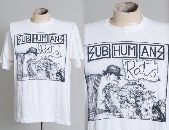 1990 SUB HUMANS Rats Hardcore Punk T Shirt