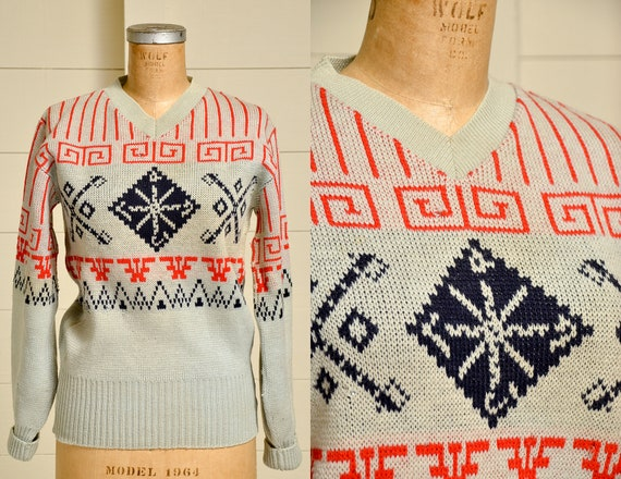 1950s Snowflake Sweater Red White & Blue Holiday W