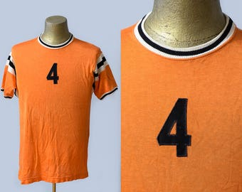1960s Rayon Jersey #4 Russell Southern Orange and Black Athletic Rayon T Shirt