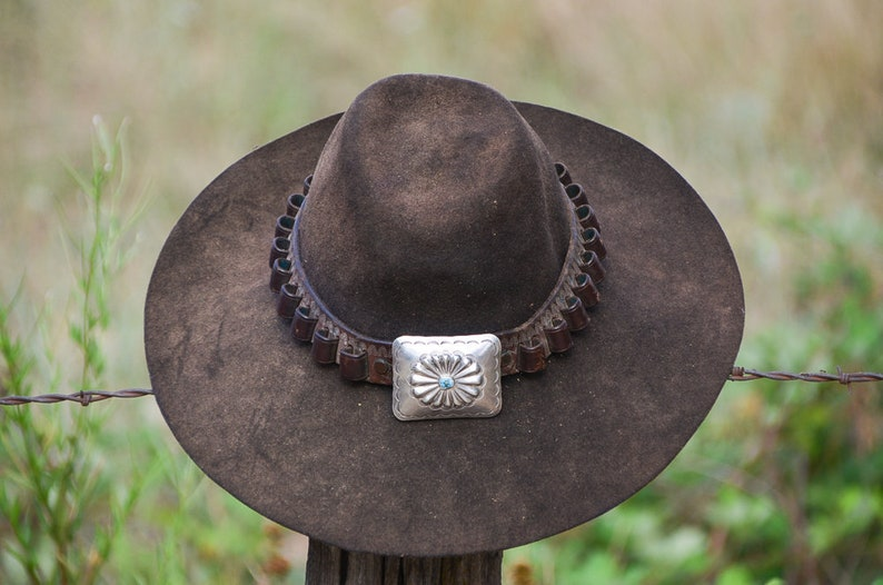 4ead2e42544 Vintage Distressed Western Hat w  Sterling   Turquoise Concho Bullet Belt Hat  Band Black Sun Faded Wide Brim Cowboy Hat