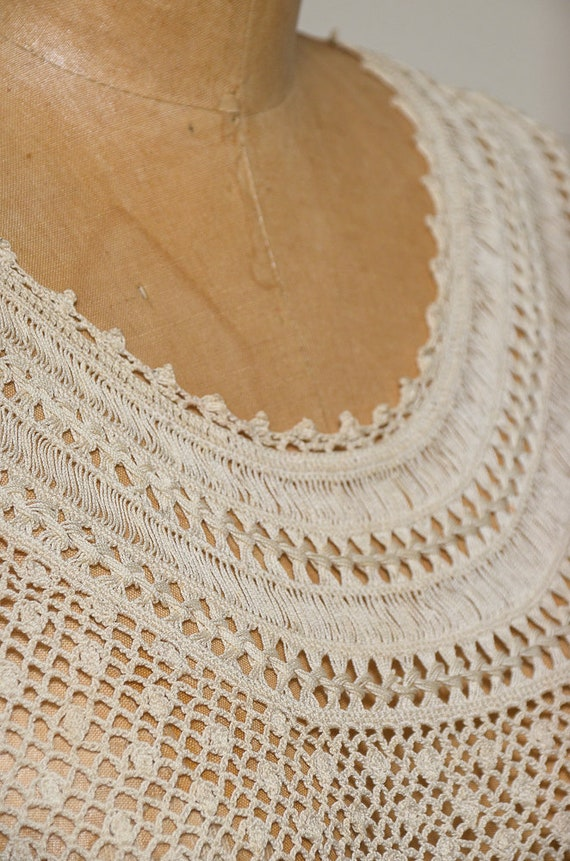 Antique Crochet Blouse Ivory Cotton Button Back B… - image 5