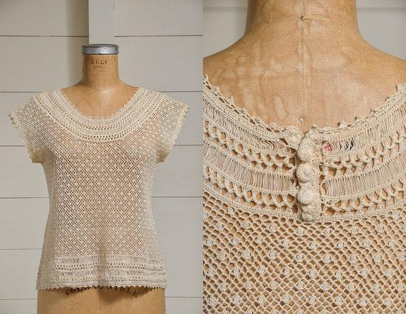 Antique Crochet Blouse Ivory Cotton Button Back B… - image 1