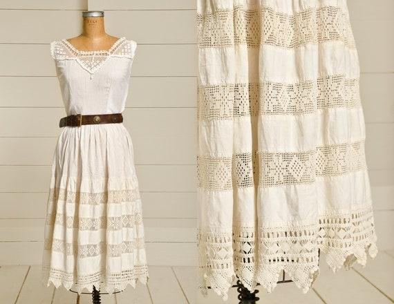 Edwardian Lace Cotton Dress Full Skirt Bohemian Pr