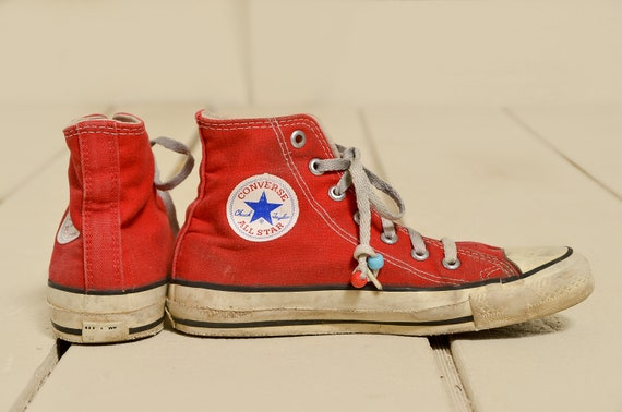 80s Converse Made In USA Red Chuck Taylor High Top Converse Allstars, 4 Womens 2 Mens