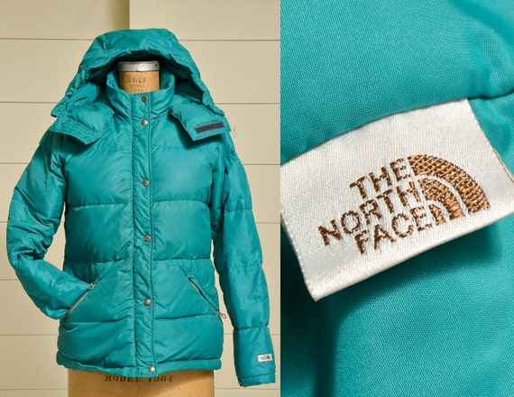 1980s North Face Puffer Jacket Down Filled Turquoi